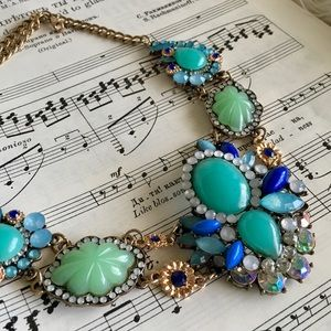 Blue Green Crystal Statement Necklace